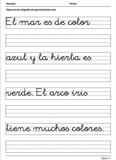 ejercicio de caligrafia